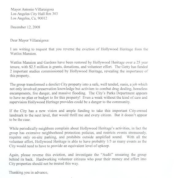 Hollywood heritage sample letter to mayor villaraigosa 1 expocarfo