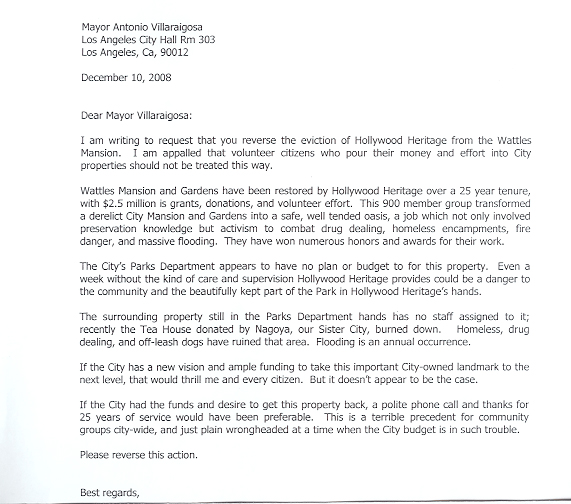 Hollywood heritage sample letter to mayor villaraigosa 1 sample letter to mayor villaraigosa 2 expocarfo
